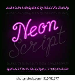 Neon script hand drawn alphabet font. Light turn on and off. Purple neon type letters and numbers on a dark background. Vector typeface for labels, titles, posters etc.