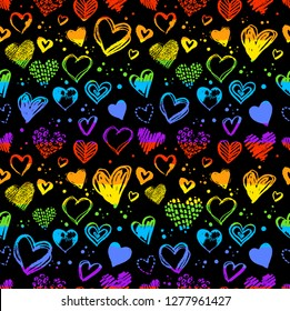 Neon seamless pattern with hand drawn Valentine grunge hearts in lgbt flag color.