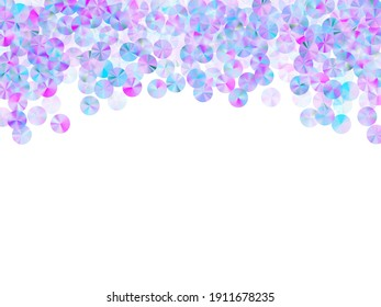 Neon sequins confetti scatter vector composition. Delicate twinkling paillette particles party glitter top view. Christmas confetti placer shimmering texture.