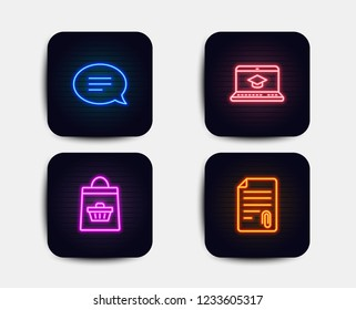 Neon set of Chat, Website education and Online buying icons. Attachment sign. Speech bubble, Video learning, Shopping cart. Attach file. Neon icons. Glowing light banners. Vector