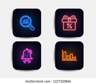 Neon set of Discount offer, Data analysis and Clock bell icons. Histogram sign. Gift box, Magnifying glass, Alarm. Economic trend. Neon discount icons. Glowing light banners. Vector