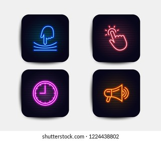 Neon set of Elastic, Touchpoint and Time icons. Megaphone sign. Resilience, Touch technology, Office clock. Advertisement. Neon time icons. Glowing light banners. Vector
