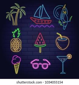 Neon set signs of summer beach elements