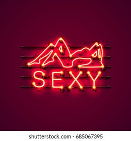 Neon sexy girl signboard on the red background. Vector illustration