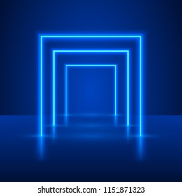 Neon show light podium blue background. Vector illustration