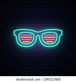 Neon shutter shades sunglasses. Bright signboard. Vector illustration.