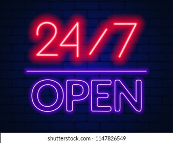 Neon sign 24 7 on brick wall background.