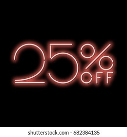 Neon sign 25% discount. A red neon sign on a black background. Vector illustration.