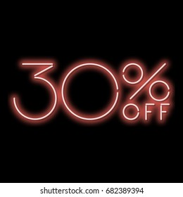 Neon sign 30% discount. A red neon sign on a black background. Vector illustration.