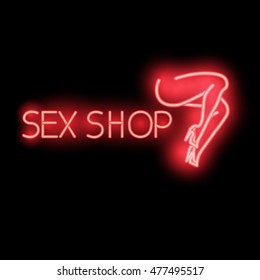Neon sign, banner store for adults, vector illustration - sex shop