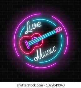 Neon sign of bar with live music on a brick wall background. Advertising glowing signboard of sound cafe with classic guitar symbol. Vector illustration.