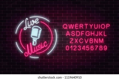 Neon sign of bar with live music and alphabet on a brick wall background. Advertising glowing signboard of sound cafe with retro microphone. Vector illustration.