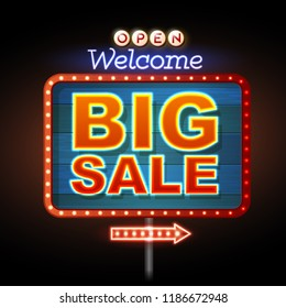 Neon sign big sale open. Vintage electric signboard