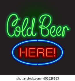 Neon sign board Cold Beer Here. Vector illustration.