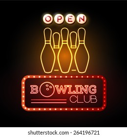 Neon sign. Bowling club