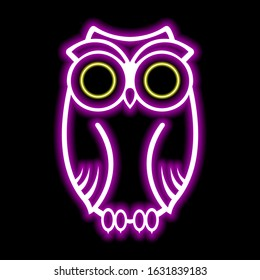 Neon sign of bright colors. Neon owl