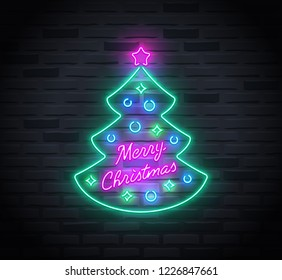 Neon sign of christmas tree and 'Merry Christmas' text inside it