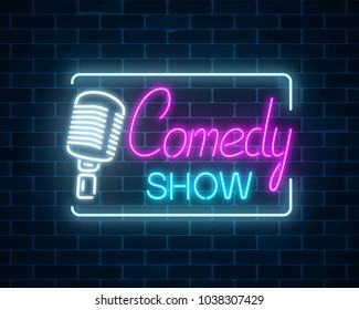 Neon sign of comedy show with retro microphone symbol on a brick wall background. Humor monolog stand up glowing signboard. Vector illustration.