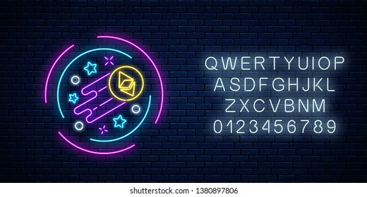 Neon sign of growing ethereum currency with alphabet. Cryptocurrency grow emblem with star shapes in circle frame on dark brick wall background. Vector illustration.
