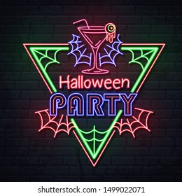 Neon sign halloween party with cocktail and fluorescent spider web. Vintage electric signboard.