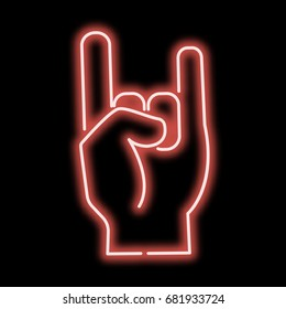 Neon sign hand that rocks finger.Red sign on a black background. vector illustration.