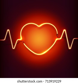 Neon sign. Heart with puls lines of a bright glow. Vector illustration