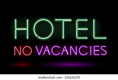 Neon sign hotel no vacancies vector illustration.