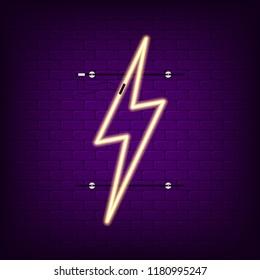 Neon sign of lightning. Glowing light neon lightning signboard. Vector illustration.