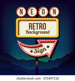Neon sign with lights, Retro billboard in city at night, Clean place with a 3D frame. Volumetric vintage frame, Roadside sign from the 50s, Shield against night mountain, Vector