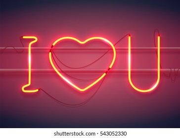 Neon sign, I Love You with heart on dark background with sparks. Design element for Happy Valentine's Day. Ready for your design, greeting card, banner. Vector illustration.