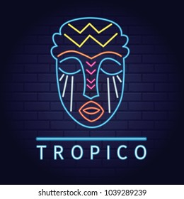 Neon sign of mask summer beach tropical  island elements