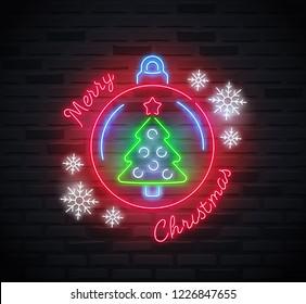 Neon sign of 'Merry Christmas' text, christmas ball, snowflakes and christmas tree inside the ball