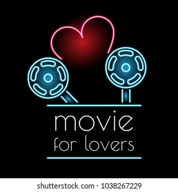 Neon sign movie for lovers. Love of cinema. Web banner.