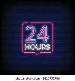 Neon sign Open 24/7 light vector with a Brick Wall Background  design element in arrow frame for 24 Hours Club  Bar  Cafe. vector illustration