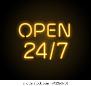 Neon sign Open 24/7 light vector background. Realistic glowing shining  design element for 24 Hours Club, Bar, Cafe