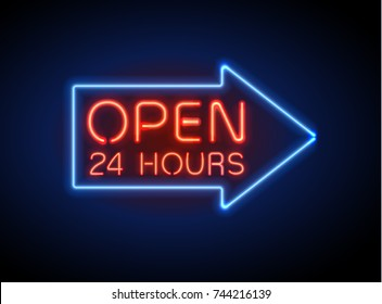 Neon sign Open 24/7 light vector background. Realistic glowing shining  design element in arrow frame for 24 Hours Club, Bar, Cafe