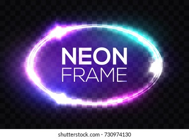 Neon sign. Oval frame with glowing, light, flares and sparkles. Electric bright 3d elliptical banner design on dark blue backdrop. Neon abstract ellipse background. Transparent vector illustration.