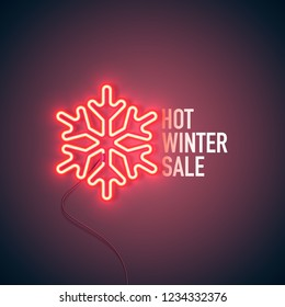 Neon sign. Retro neon Hot Winter Sale sign on purple background. Design element for your discount proposition. Ready for your design, banner. Vector illustration.