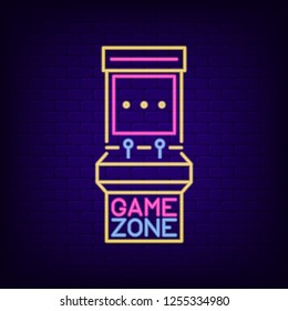 Neon sign of retro slot machine. Game Zone signboard with night light arcade game machine. Gaming advertising neon banner. Vector illustration.