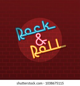 neon sign rock and roll theme vector art illustration
