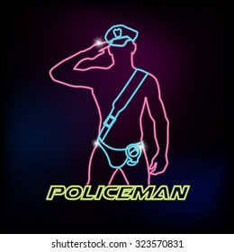 Neon sign with silhouette of sexy policeman