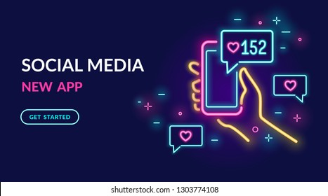 Neon sign of social media app for chatting, following and sharing memes. Bright vector neon light illustration of smartphone with speech bubble and feedback message in social networks