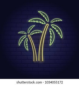 Neon sign of summer beach tropical palm island elements