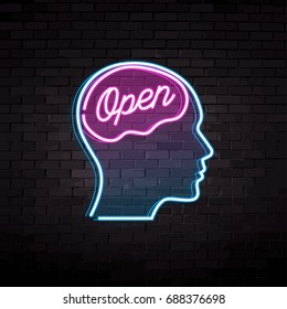 a neon sign that says open vector illustration