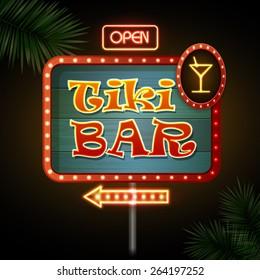 Neon sign. Tiki bar