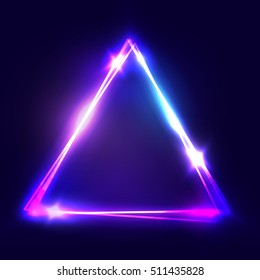 Neon sign. Triangle background. Glowing electric abstract frame on dark backdrop. Light banner with glow. Bright vector illustration with flares and sparkles.