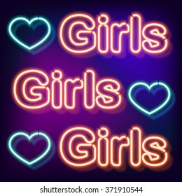 Neon sign with the word girls. Vintage electric symbol. Burning a pointer to a black wall in a club, bar or cafe. Design element for your ad, signs, posters, banners. Vector illustration