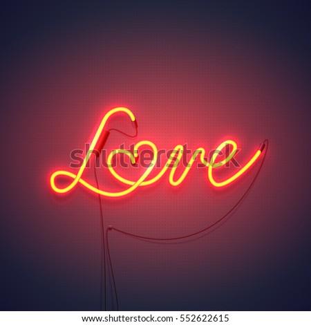 Neon Sign Word Love Heart On Stock-Vektorgrafik (Lizenzfrei ...