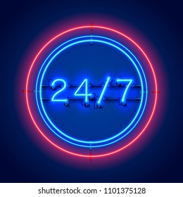 Neon signboard 24 7 open time. Vector illustration