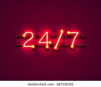 Neon signboard 24 7 open time. Vector illustration
